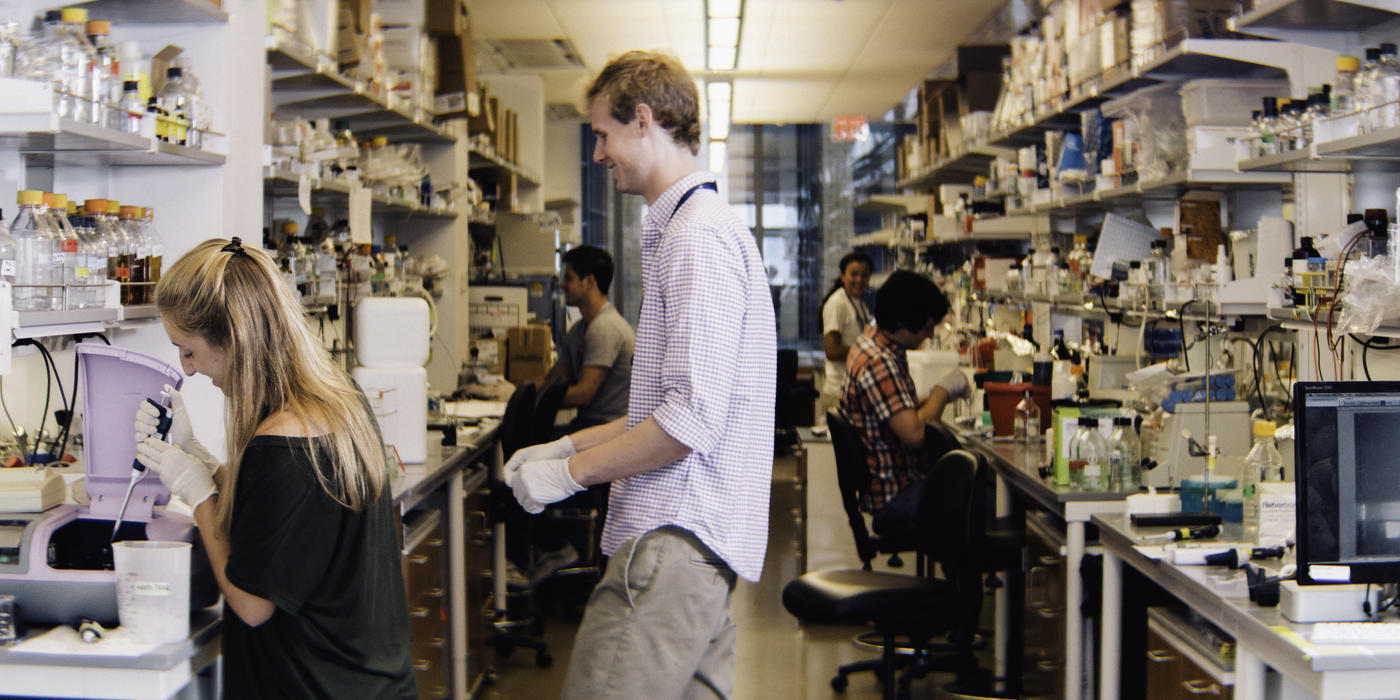 Wistar scientists in the lab